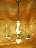Lustra stil Baroc, portelan, bronz, sticla, vintage