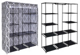 Dulap din material textil Mira Maxi, pentru depozitare incaltaminte, imbracaminte sau accesorii, cadru metalic, 10 rafturi, culoare alb-negru, Palmonix