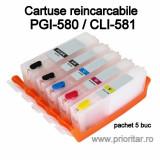 Cumpara ieftin Cartuse reincarcabile pt Canon PGI580 CLI581 refilabile PGI-580 CLI-581 set 5...