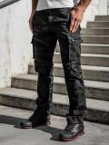 Cumpara ieftin Pantaloni cargo cu curea negri Bolf 2096
