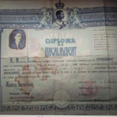 Diploma  Bacalaureat Liceul National Iași perioada interbelica
