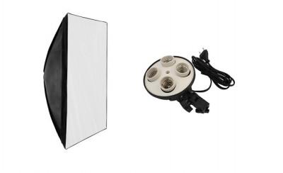 Kit suport pentru 4 becuri cu fasung E27 + softbox 40X60cm foto