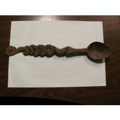 CY - Lingura mai veche de lemn deosebita / motiv zoomorf: sarpe