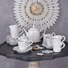 Set cafea din portelan alb pentru 6 persoane CW501