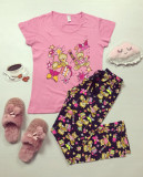 Pijama dama bumbac ieftina cu tricou roz si pantaloni lungi cu imprimeu Bear