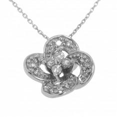 Colier cu pandantiv din aur alb 14K, diamante, model cu floare, LAU7