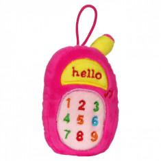 Jucarie zornaitoare,model telefon, 18cm, cu sunete, roz