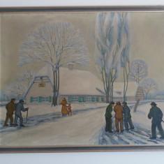 Tablou vechi - Alei inghetate - Iarna - Pictor MARE (95)