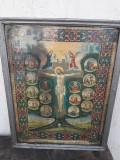 Icoana romaneasca rastignire Iisus Christos litografie color veche