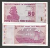 ZIMBABWE  50  DOLARI  DOLLARS  2009  UNC   [1]  P- 96  ,  necirculata