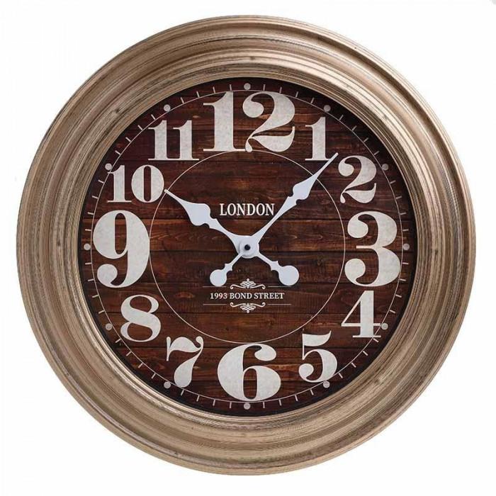 Ceas de perete Bond Street, rotund, melamina, maro, diametru 56 cm
