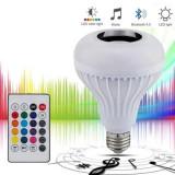 Bec Muzical Inteligent LED Cu Bluetooth Si Telecomanda, Becuri LED, E27, Rece (4100 - 4999 K)