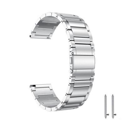 Curea din metal compatibila cu Moto 360 42mm generatia 2, Telescoape QR, 20mm, Argintiu foto