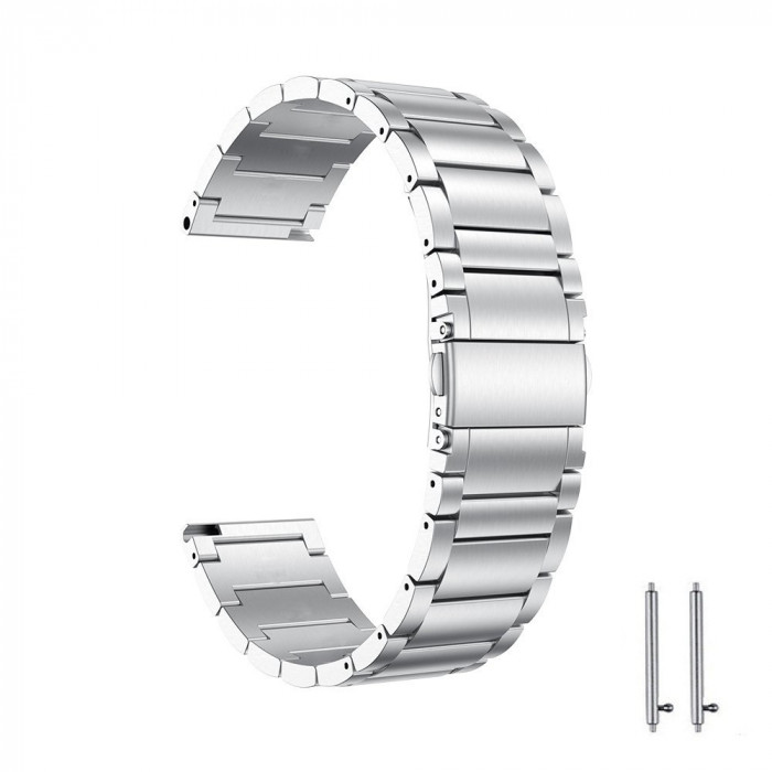 Curea din metal compatibila cu Moto 360 42mm generatia 2, Telescoape QR, 20mm, Argintiu