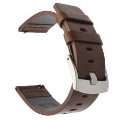 Curea din piele naturala compatibila cu Samsung Galaxy Watch Active, Telescoape QR, 20mm, Maro/Argintiu