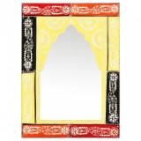 Oglindă pictată manual, 40 x 55 cm, lemn masiv de mango