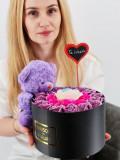 Cumpara ieftin Set cadou - Trandafiri sapun - Ursulet Mov