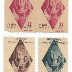 România, lot 210 cu 4 timbre fiscale de ajutor, Consiliul de Patronaj, 1943, MNH