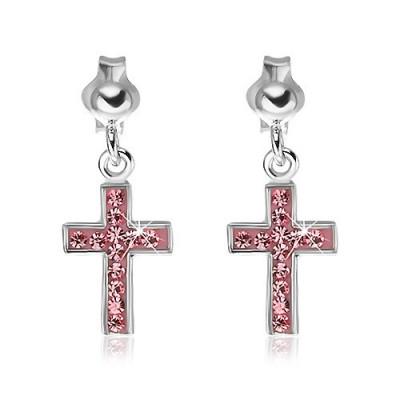 Cercei argint 925 - cruce roz cu zircon foto