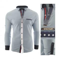 Camasa pentru barbati, flex fit, gri deschis, casual, cu guler - sedna magnus