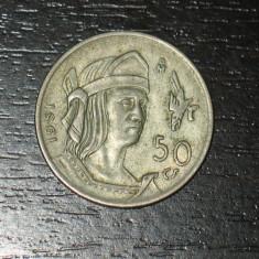 Moneda argint 50 centimos Mexic 1951