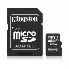 Card memorie Kingston MicroSDHC 16Gb cu Adaptor (Class 4) Blister