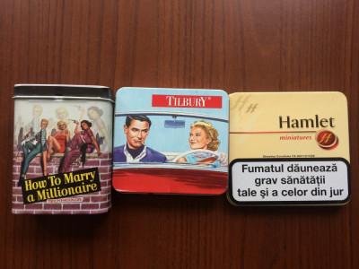 colectie 3 cutii cutie pt tigari tabla hamlet tilbury How to Marry a Millionaire foto