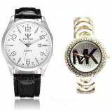 Cumpara ieftin Pachet ceas barbatesc elegant Yazole + ceas elegant de dama Shine Crystal argintiu cu bratara metalica