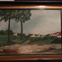 Tablou,pictura germana in ulei pe panza,peisaj rustic