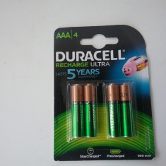 Duracell - Set 4 Acumulatori,baterii reincarcabile AAA, HR03, 900mah made Japan, Tip AA (R6)