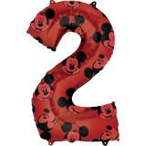 Cumpara ieftin Balon Folie Figurina Mickey Mouse Forever Cifra 2 rosu- 66 cm, Amscan 40132, 1 buc