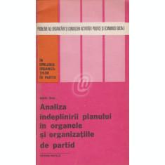 Analiza indeplinirii planului in organele si organizatiile de partid