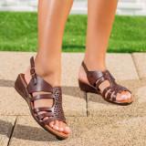 Sandale dama cu talpa ortopedica maro Mandovi