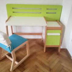 Birou si scaun reglabil pe inaltime pentru copii