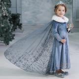 Rochie/rochita Elsa Frozen cu trena si blanita, 3-4 ani, 4-5 ani, 6-7 ani, 7-8 ani, Bleu