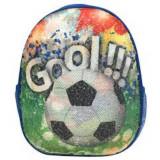 Ghiozdan DACO cu Paiete, Model Fotbal, 31x25x9 cm, Bretele cu Burete Reglabile si Doua Buzunare Laterale cu Plasa, Material Poliester, Multicolor, Ghi