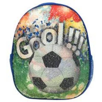Ghiozdan DACO cu Paiete, Model Fotbal, 31x25x9 cm, Bretele cu Burete Reglabile si Doua Buzunare Laterale cu Plasa, Material Poliester, Multicolor, Ghi foto