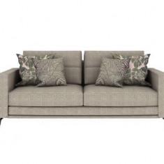 Canapea fixa tapitata cu stofa, 3 locuri Hector Gri deschis, l215xA98xH85 cm