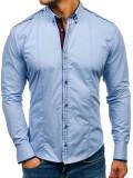 Cămașă elegantă pentru bărbat cu mâneca lungă albastră Bolf 4707