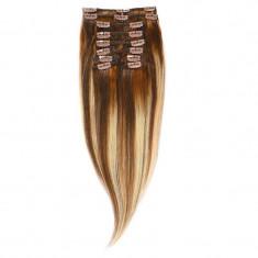 Clip-On Par Natural Volum 40cm 140gr Balayage Saten Mediu/Blond Opal/Saten Mediu 6/22/6
