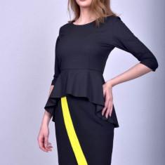 Bluza office peplum cu maneci trei sferturi Black