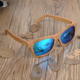 Cumpara ieftin Ochelari de soare din lemn Bobo Bird BG003, lentila albastra