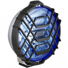 Proiector auto Wesem 12V bec H3 , 183x97mm rotund sticla albastra carcasa cromata, cu lumina de drum , 1 buc.