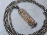 MEDALION argint cu MULTIPLE SIMBOLURI EGIPTENE splendid EGIPT pe Lant argint