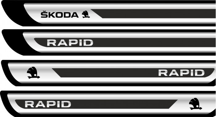 Set protectii praguri CROM - Skoda Rapid