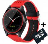 Ceas Smartwatch cu Telefon iUni V9 Plus, Touchscreen, 1.3 Inch HD, Camera 2MP, iOS si Android, Rosu + Card MicroSD 4GB