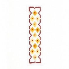 Semn de carte cusut manual pe etamina Galben, Rosu