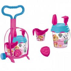 Troller cu ghiozdanel Paw Patrol Girls Mondo pentru copii cu jucarii plaja si galetusa