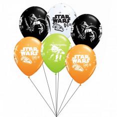 Buchet din baloane latex asortate Star Wars cu heliu, Qualatex BB.Q19363
