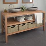 VidaXL Dulap de chiuvetă cu 4 coșuri, lemn de tec masiv, 132x45x75 cm